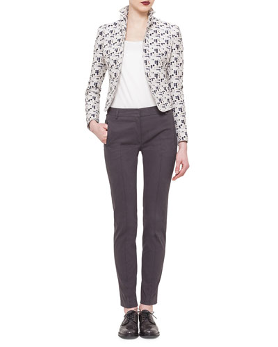 Cropped Dot-Print Jacket, Elements Abstract Floral-Print Top & Fabia Zip-Pocket Ankle Pants