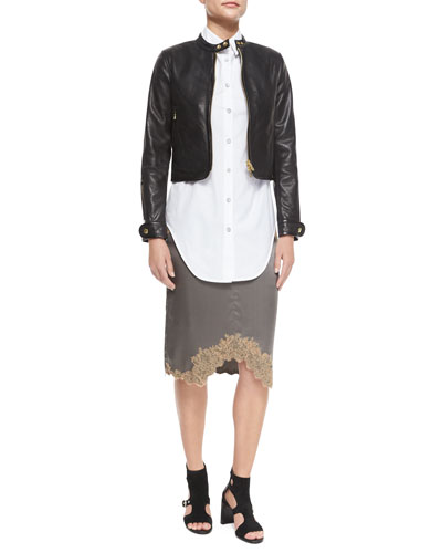 Carriage Leather Biker Jacket, Nightingale Cotton Blouse & Izabella Lace-Trim Silk Skirt