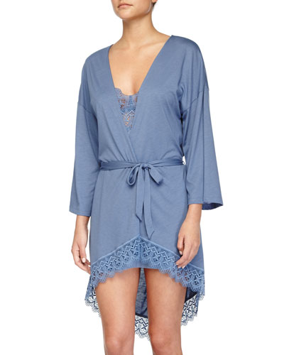 Edith Lace-Trim Short Robe & Babydoll