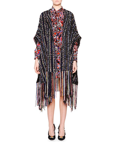 Pearly Beaded Striped Poncho & Neck-Tie Long-Sleeve Printed Pleated Dress