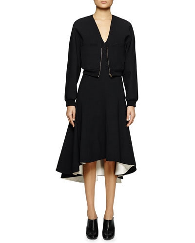Zip-Front Jersey Crop Jacket & V-Neck Jersey Handkerchief Dress