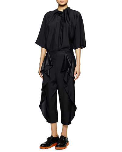 Ruffle-Neck Satin Top & Cascading Ruffle Capri Pants