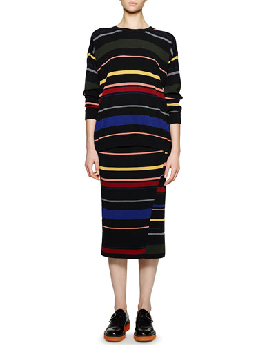 Crewneck Striped Knit Top & Striped Ribbed Midi Skirt