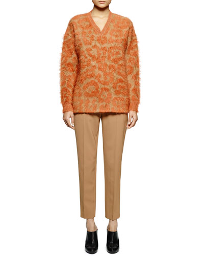 Leopard-Pattern Mohair-Blend Sweater & Skinny-Fit Wool Twill Ankle Pants