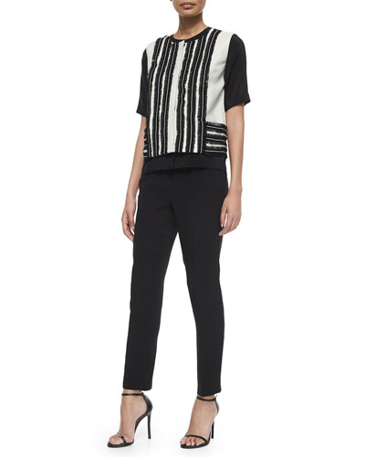 Sleeveless Fringe Jacket, Silk Button-Front Blouse & Silk Georgette Ankle Pants