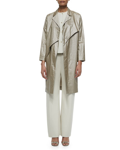 Double-Face Wool Pants, Silk Button-Front Blouse & Glazed Linen Coat
