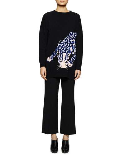 Leopard-Print Knit Sweatshirt & Flared Gabardine Ankle Pants