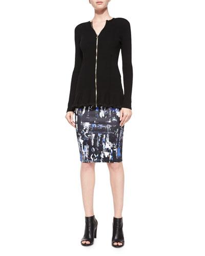 Ribbed Zip-Front Peplum Jacket & Richter-Print Contour Skirt