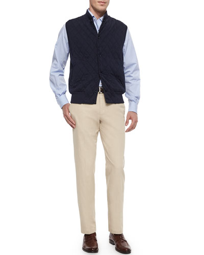 Horsey Cashmere-Blend Sweater Vest & St. Malo Regular-Fit Dyed Pants
