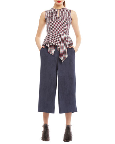 Sleeveless Keyhole Silk Top & Tribeca Wide-Leg Culottes