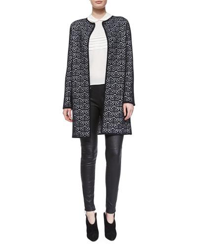 Geometric Jacquard Long Topper,  Silk Button-Back Blouse & Lambskin Leather Leggings