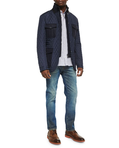 Quilted Jacket with Leather Trim, Small Geo-Diamond Print Sport Shirt & Five-Pocket Faded & Distressed Denim Jeans