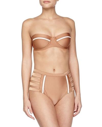 Metallic Lace-Inset Swim Top, Metallic Strappy High-Waist Bottom & Tassel-Trim Crochet Beach Bag