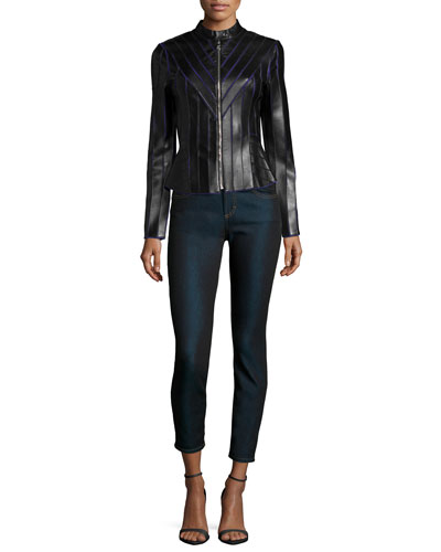 Laser-Cut Leather Contrast Jacket & Cropped Denim Skinny Jeans