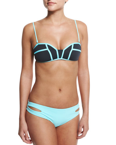 Bombshell Two-Tone Swim Top & Full-Cut Side-Slit Bottom