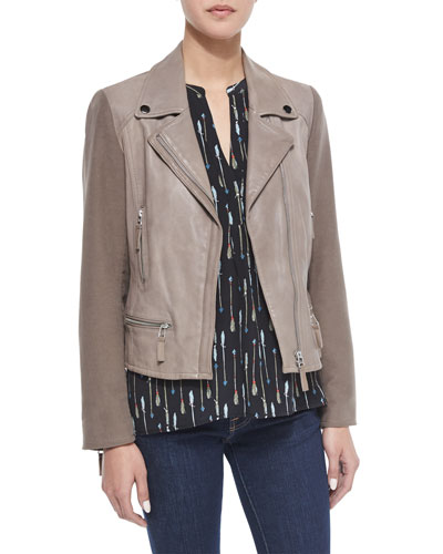 Seabrooke Mixed Media Leather Jacket & Aruna Arrow-Print Silk Top