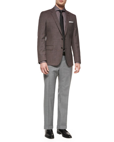 Houndstooth Slim-Fit Sport Coat, Jaser Slim-Fit Check Dress Shirt, Textured Solid Silk Tie & Solid Slim-Fit Wool Trousers