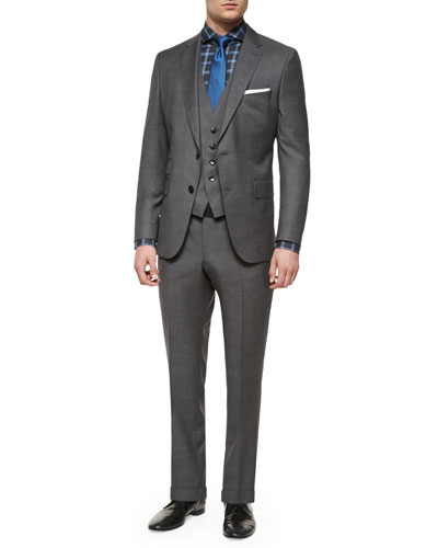 Three-Piece Nailhead Wool Suit, Dwayne Slim-Fit Plaid Dress Shirt & Textured Solid Silk Tie