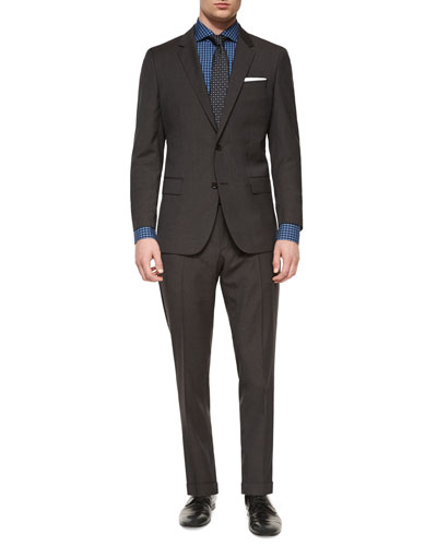 Melange Houndstooth Two-Piece Suit, Jason Slim-Fit Mini-Gingham Dress Shirt & Neat Square Silk Tie