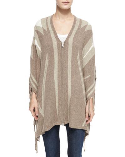 Joie Ignacie Abstract Intarsia Zip Sweater & Ashlee