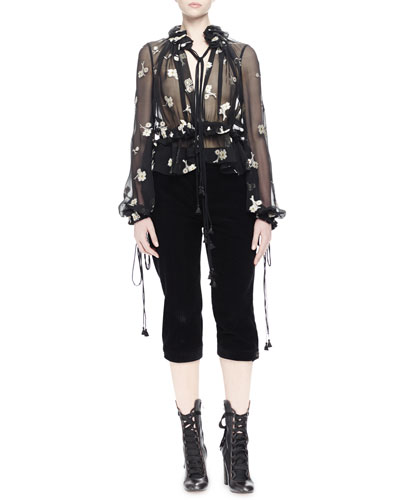 Sheer Floral-Embroidered Blouse & Wide-Corduroy Cropped Pants