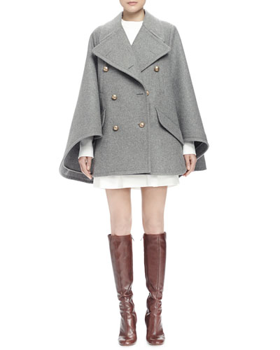Double-Breasted Cape Coat & Long-Sleeve Asymmetric Dress