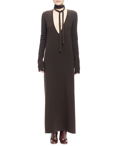 Long Plunging-Neck Knit Dress & Narrow Neck-Tie