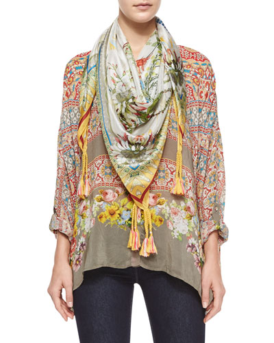 Blooming Printed Long-Sleeve Blouse & Exotic Flower-Print Silk Georgette Scarf, Women