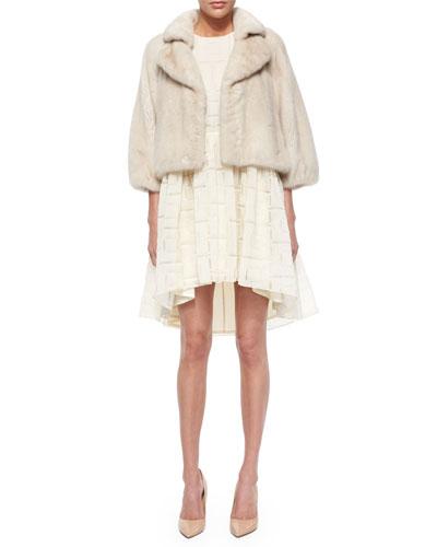 Bracelet-Sleeve Cropped Mink Coat & Fil Coupe Drop-Waist Arched Dress