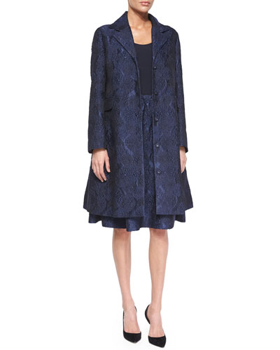 Jacquard A-Line Coat, Spaghetti-Strap Crepe Tank Top & Tuck-Pleated Jacquard Bell Skirt