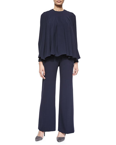 Pleated Crepe Swing Top & Straight-Leg Front-Press Pants