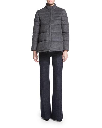 Flannel Puffer Coat & High-Waist Flare-Leg Denim Pants