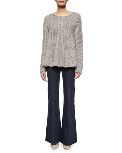 Cable-Knit Long-Sleeve Cashmere Sweater & High-Waist Flare-Leg Denim Pants