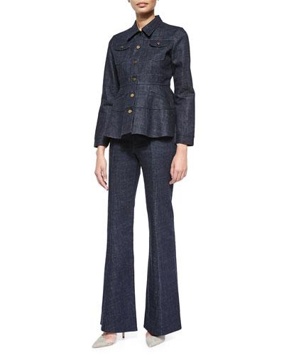 Long-Sleeve Denim Jacket & High-Waist Flare-Leg Denim Pants