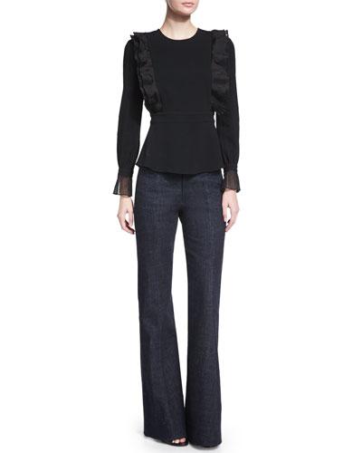 Long-Sleeve Ruffled Top & High-Waist Flare-Leg Denim Pants