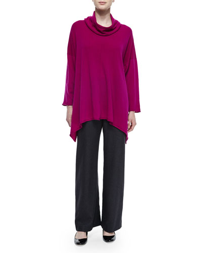 Cowl-Neck Long Cashmere Sweater & Silk-Cashmere Wide-Leg Pants