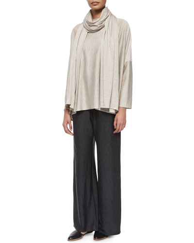 Flared Wide-Leg Trousers, Long-Sleeve Bateau-Neck Caftan & Jersey Long Scarf