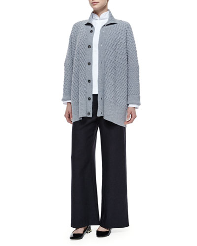 High-Neck Trellis Button Cashmere Cardigan, Double-Collar Cotton Poplin Blouse & Silk-Cashmere Wide-Leg Pants