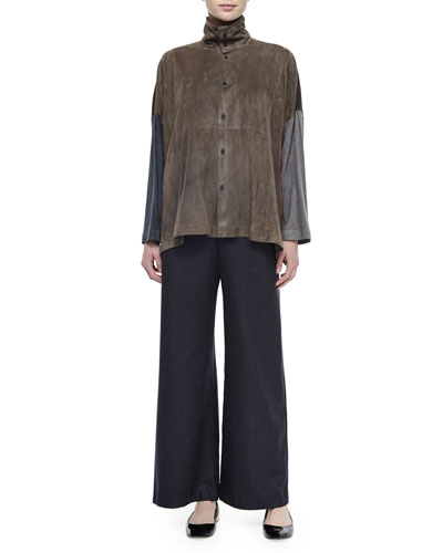 Scrunch-Neck Colorblock Suede Blouse & Silk-Cashmere Wide-Leg Pants
