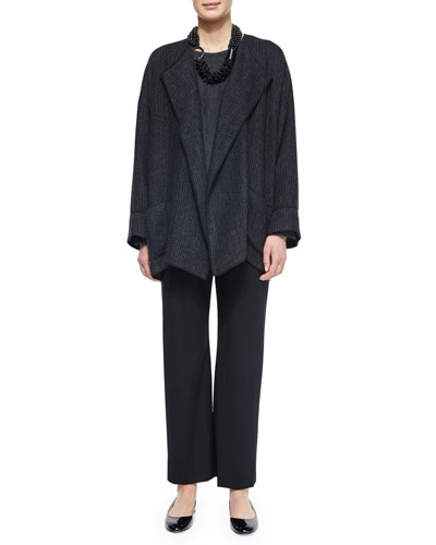 Cuffed Rib-Knit Open Jacket, Long-Sleeve Cashmere Sweater, Multi-Strand Mixed Beaded Necklace & Wool Stretch Trousers
