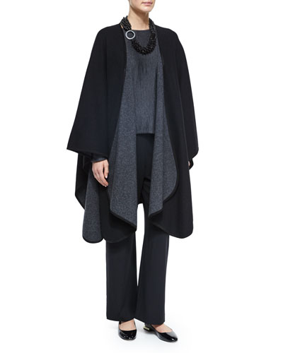 Cashmere-Blend Reversible Curved-Edge Cape, Multi-Strand Mixed Beaded Necklace & Wool Stretch Trousers