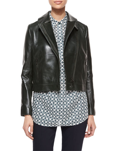 Asymmetric-Zip Leather Jacket & Brigitte Geometric-Print Tunic