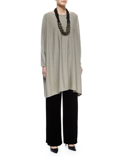 Cashmere-Blend Shimmer Knit Caftan, Velvet Wide-Leg Trousers & Acai & Horn Multi-Strand Necklace