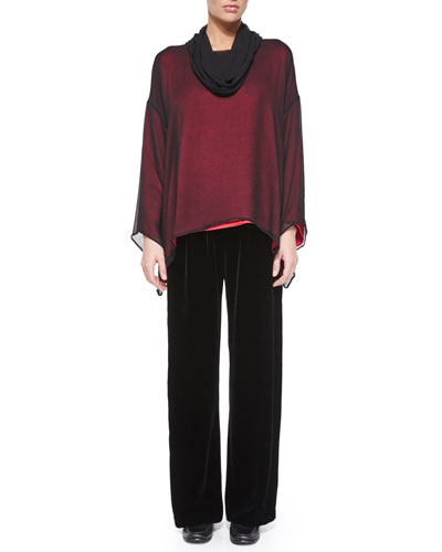 Silk Chiffon Cowl-Neck Top & Velvet Wide-Leg Trousers