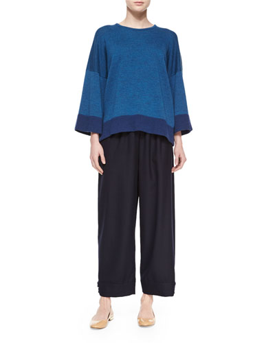 Merino Contrast Hem Sweater & Top-Pleated Button-Cuff Trouser