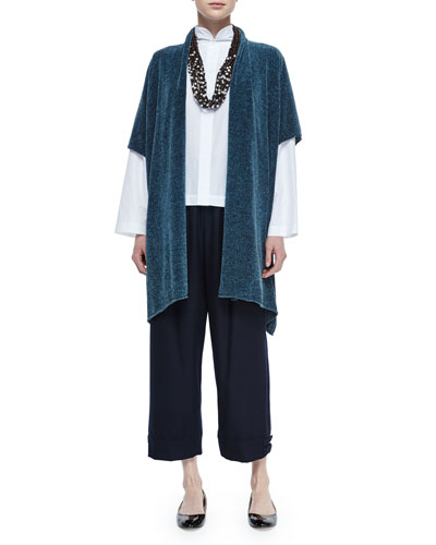 Short-Sleeve Chenille Cardigan, Double-Collar Cotton Poplin Blouse, Top-Pleated Button-Cuff Slim Trouser & Multi-Strand Coconut Bead Necklace