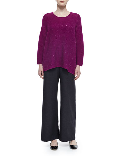 Cashmere-Blend Paillette Sweater & Silk-Cashmere Wide-Leg Pants