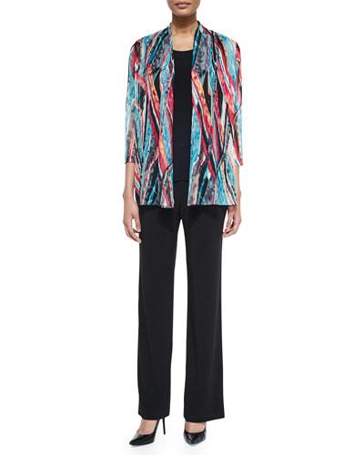 Bracelet-Sleeve Multicolored Lace Cardigan, Stretch Knit Long Tank & Stretch-Knit Straight-Leg Pants, Petite