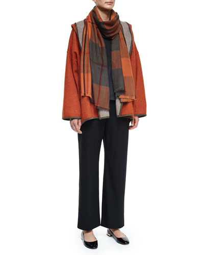Hooded Cashmere-Blend Reversible Jacket, Long-Sleeve Cashmere Sweater, Wool Stretch Trousers & Cashmere Tartan Check Fringe Scarf