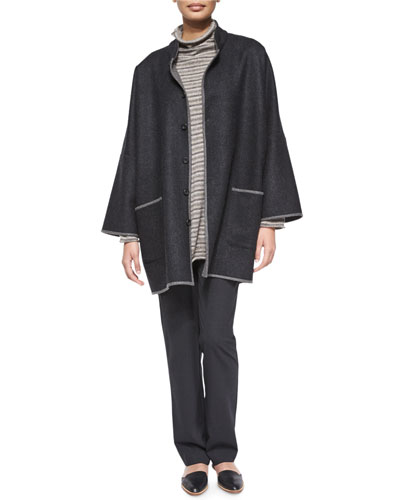 Two-Tone Long Slope-Shoulder Coat, Cashmere-Blend Striped Sweater & Stretch Narrow-Leg Trousers